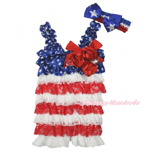 American's Birthday Patriotic American Star White Red Satin Petti Romper with Red Bow & Straps & Bunch of Red Satin Rosettes & Crystal With Red White Royal Blue Headband Patriotic American Star Satin Bow 2pc Set RH148