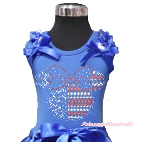 4th July Royal Blue Tank Top With Patriotic American Star Ruffles & Royal Blue Bows With Sparkle Crystal Bling Rhinestone 4th July Minnie Print T443