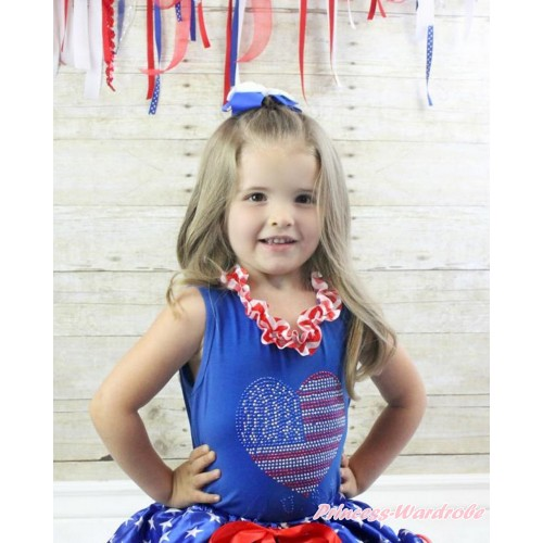American's Birthday Royal Blue Tank Tops with Red White Chevron Satin Lacing with Sparkle Crystal Bling Rhinestone USA Heart Print T446