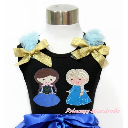 Black Tank Top With Light Blue Ruffles & Sparkle Goldenrod Bow With Princess Anna & Princess Elsa Print TB810