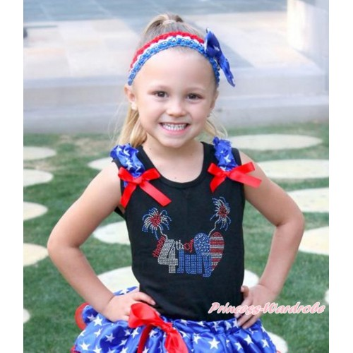 American's Birthday Black Tank Top With Patriotic American Star Ruffles & Red Bow With Sparkle Crystal Bling Rhinestone 4th July Patriotic American Heart Print TB811