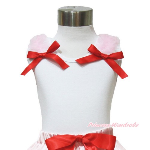 White Tank Top with Ligth Pink Ruffles and Red Bow TB814