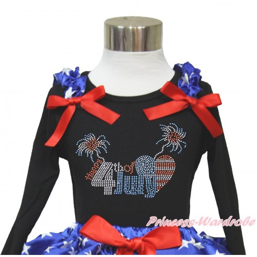 American's Birthday Black Long Sleeves Top With Patriotic American Star Ruffles & Red Bow with Sparkle Crystal Bling Rhinestone 4th July Patriotic American Heart Print TO359