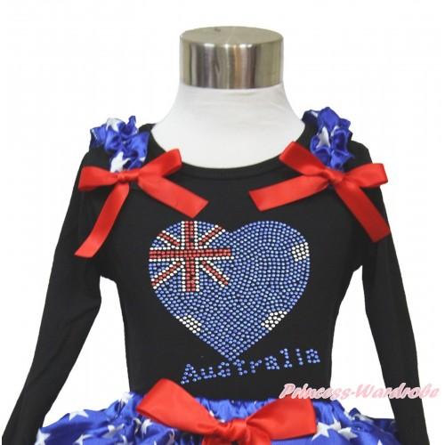 American's Birthday Black Long Sleeves Top With Patriotic American Star Ruffles & Red Bow with Sparkle Crystal Bling Rhinestone Australia Heart Print TO361