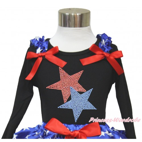 American's Birthday Black Long Sleeves Top With Patriotic American Star Ruffles & Red Bow with Sparkle Crystal Bling Rhinestone Red Blue Twin Star Print TO362