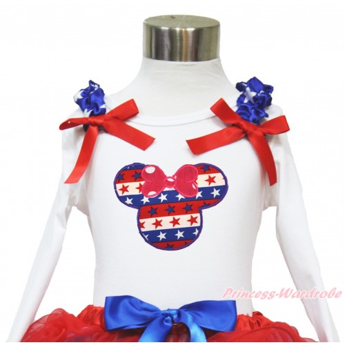 American's Birthday White Long Sleeves Top With Patriotic American Star Ruffles & Red Bow with Red White Blue Striped Star Minnie Print TW456