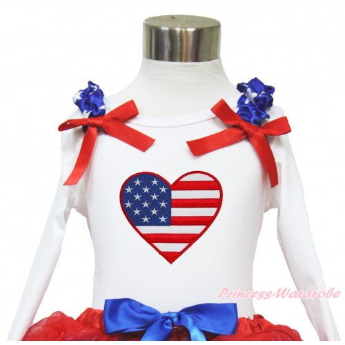 American's Birthday White Long Sleeves Top With Patriotic American Star Ruffles & Red Bow with Patriotic American Heart Print TW457