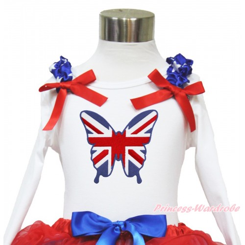 American's Birthday White Long Sleeves Top With Patriotic American Star Ruffles & Red Bow with Patriotic British Butterfly Print TW459