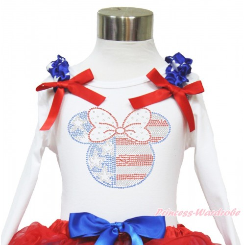 American's Birthday White Long Sleeves Top With Patriotic American Star Ruffles & Red Bow with Sparkle Crystal Bling Rhinestone 4th July Minnie Print TW460