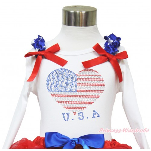 American's Birthday White Long Sleeves Top With Patriotic American Star Ruffles & Red Bow with Sparkle Crystal Bling Rhinestone USA Heart Print TW461