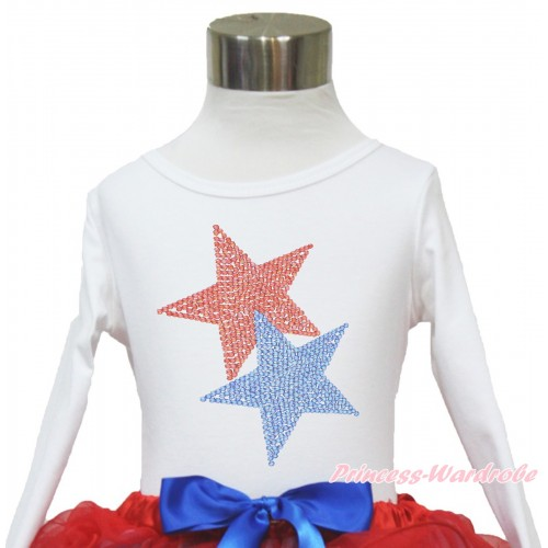 American's Birthday White Long Sleeves Top With Sparkle Crystal Bling Rhinestone Red Blue Twin Star Print TW462
