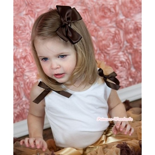 White Tank Top with Goldenrod Ruffles and Brown Bow T473
