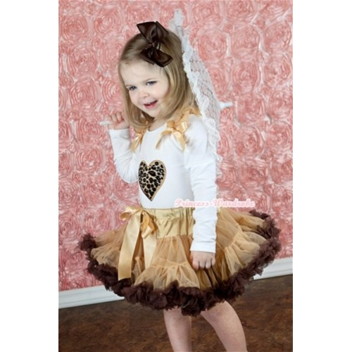 Light Dark Brown Pettiskirt with Leopard Heart Print White Long Sleeves Top with Goldenrod Ruffles and Goldenrod Bow MW128