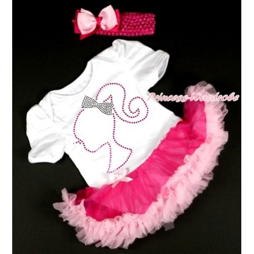 White Baby Bodysuit Jumpsuit Hot Light Pink Pettiskirt With Sparkle Crystal Bling Rhinestone Barbie Princess Print With Hot Pink Headband Light Hot Pink Ribbon Bow JS2939