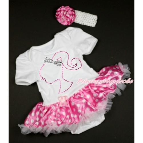 Valentine's Day White Baby Bodysuit Jumpsuit Hot Pink White Dots Pettiskirt With Sparkle Crystal Bling Rhinestone Barbie Princess Print With White Headband Hot Pink White Dots Rose JS2946