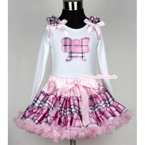 Light Pink Checked Pettiskirt with Light Pink Checked Butterfly Print White Long Sleeve Top with Light Pink Checked Ruffles and Light Pink Bow MW133