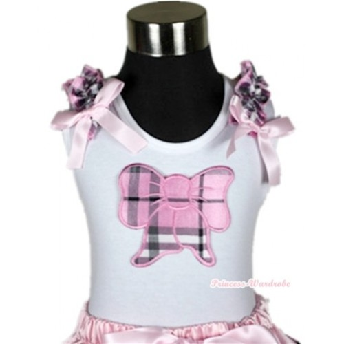 White Tank Top With Light Pink Checked Butterfly Print With Light Pink Checked Ruffles& Light Pink Bows TB262