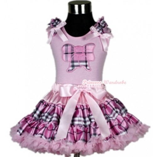Light Pink Tank Top with Light Pink Checked Butterfly Print with Light Pink Checked Ruffles &Light Pink Bow With Light Pink Checked Pettiskirt M280