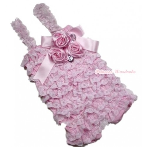 Light Pink Lace Ruffles Petti Rompers With Straps With Big Bow & Bunch Of Satin Rosettes& Crystal LR131