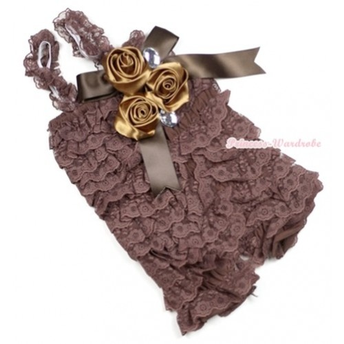 Brown Lace Ruffles Petti Rompers With Straps With Big Bow & Bunch Of Satin Rosettes& Crystal LR137