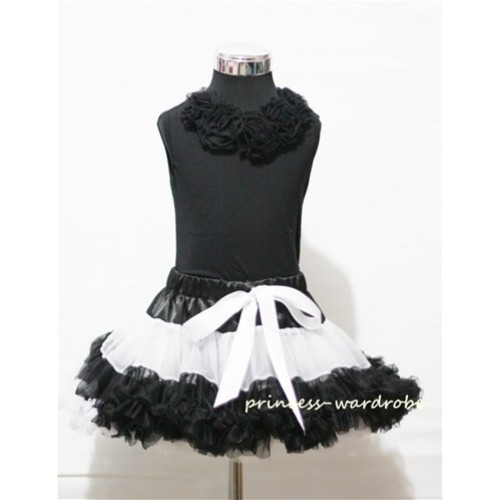 Black Tank Tops & Black Rosettes With Black White Multi-Colored Pettiskirt M157