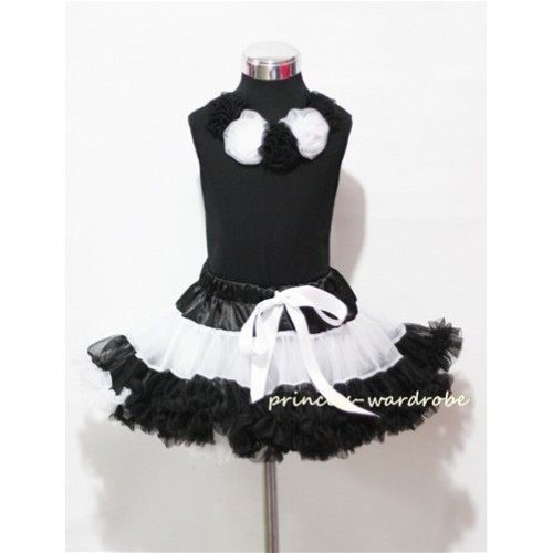 Black Tank Tops & 3 pcs Black & 2pcs White Rosettes With Black White Multi-Colored Pettiskirt M158