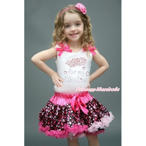 Valentine's Day White Tank Top with Hot Pink Ruffles & Hot Pink Bow with Sparkle Crystal Bling Rhinestone Wild for my Valentine Print & Hot Light Pink Heart Pettiskirt MG998