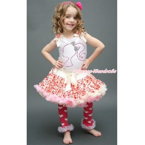 Valentine's Day White Tank Top with Cream White Heart Ruffles & Cream White Bow with Sparkle Crystal Bling Rhinestone Barbie Princess Print & Cream White Heart Pettiskirt MG1005