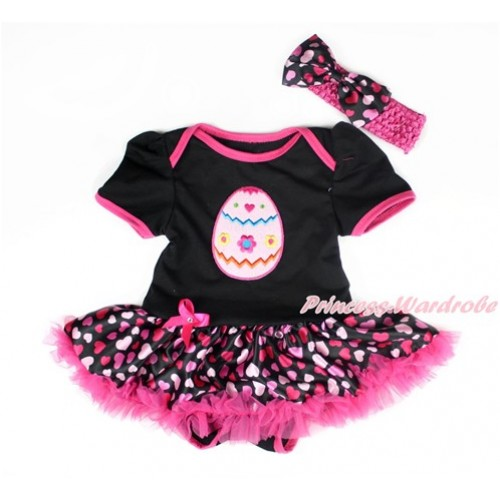 Easter Black Baby Bodysuit Jumpsuit Hot Light Pink Heart Pettiskirt With Easter Egg Print With Hot Pink Headband Hot Light Pink Heart Satin Bow JS3008