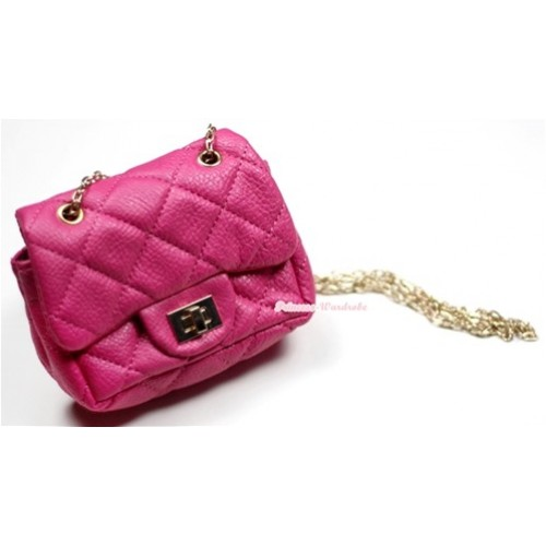 Gold Chain Hot Pink Checked Little Cute Petti Shoulder Bag CB13