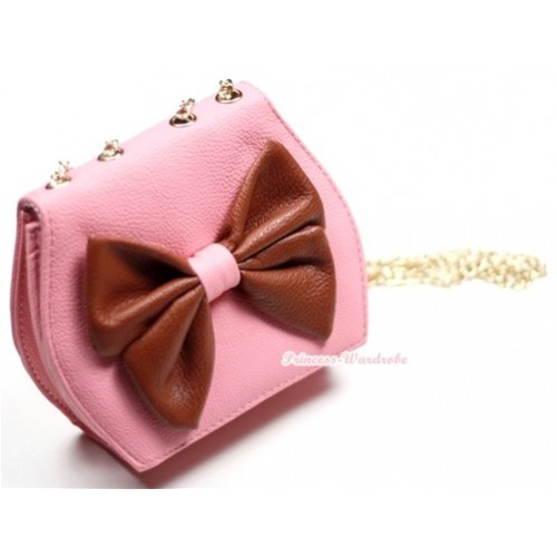 Gold Chain Light Pink Leather Brown Bow Little Cute Petti Shoulder Bag CB15