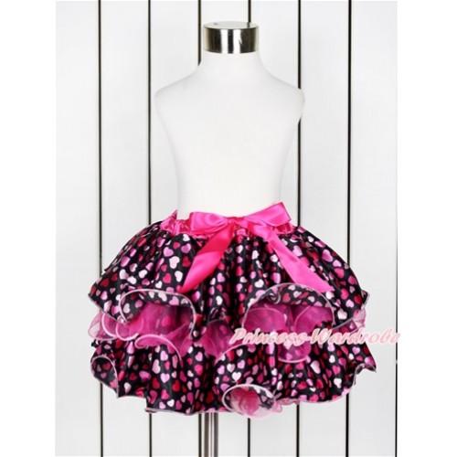 Hot Pink Hot Light Pink Heart Flower Petal Newborn Baby Pettiskirt With Hot Pink Bow N208