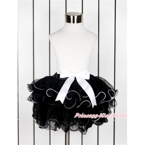 Black Flower Petal Newborn Baby Pettiskirt With White Bow N209