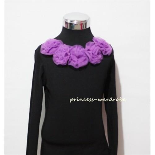 Black Long Sleeves Tops with Dark Purple Rosettes TB24