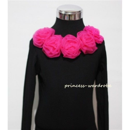 Black Long Sleeves Tops with Hot Pink Rosettes TB26