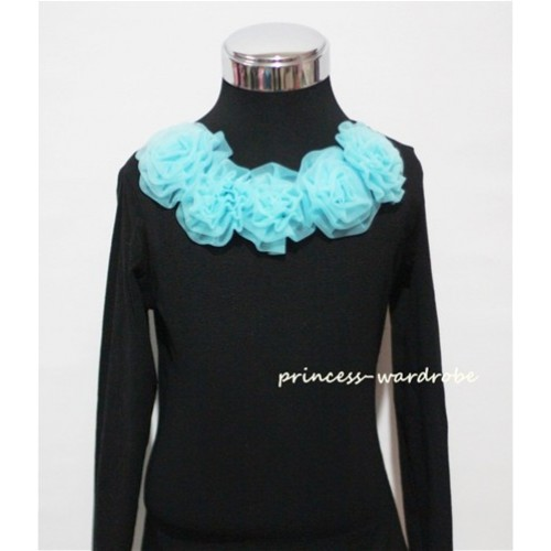 Black Long Sleeves Tops with Light Blue Rosettes TB28