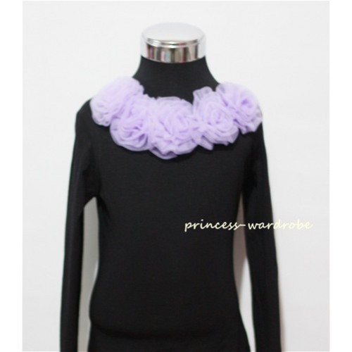 Black Long Sleeves Tops with Light Purple Rosettes TB29