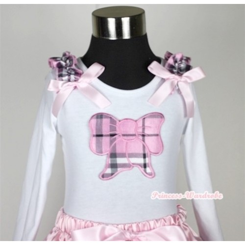 White Long Sleeves Top with Light Pink Checked Butterfly Print With Light Pink Checked Ruffles & Light Pink Bow T267