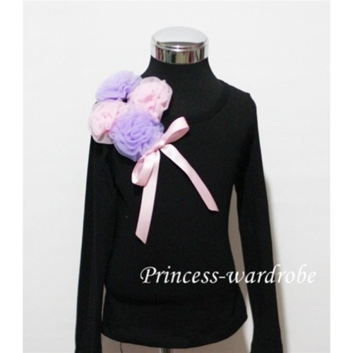Black Long Sleeve Top with Bunch of Light Purple Pink Rosettes and Pink Bow TB72