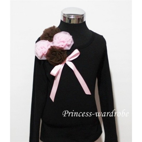 Black Long Sleeve Top with Bunch of Brown Pink Rosettes and Pink Bow TB74