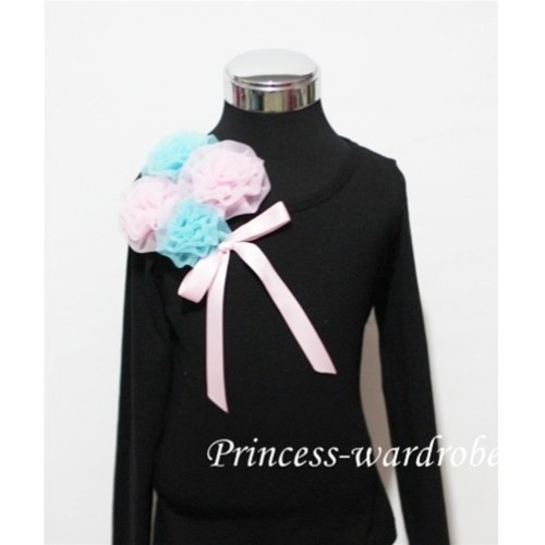 Black Long Sleeve Top with Bunch of Light Blue Pink Rosettes and Pink Bow TB75