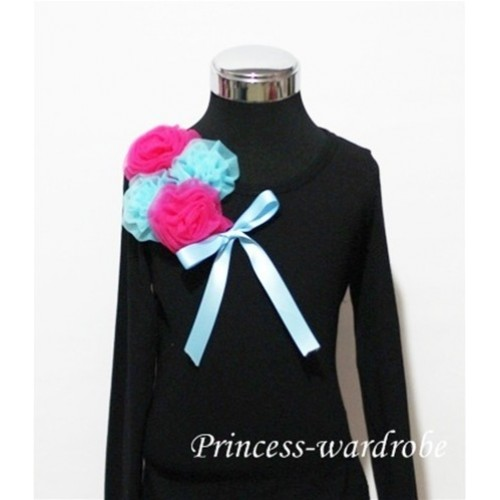 Black Long Sleeve Top with Bunch of Hot Pink Blue Rosettes and Blue Bow TB78