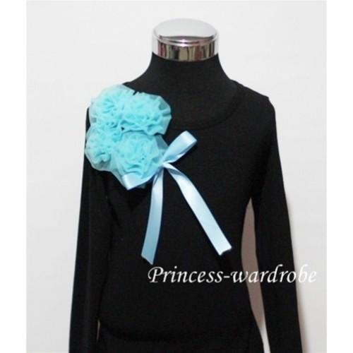 Black Long Sleeve Top with Bunch of Light Blue Rosettes and Blue Bow TB80