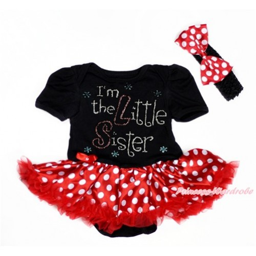 Black Baby Bodysuit Jumpsuit Minnie Dots Pettiskirt With Sparkle Crystal Bling Rhinestone I'm the Little Sister Print With Black Headband Minnie Dots Satin Bow JS3013