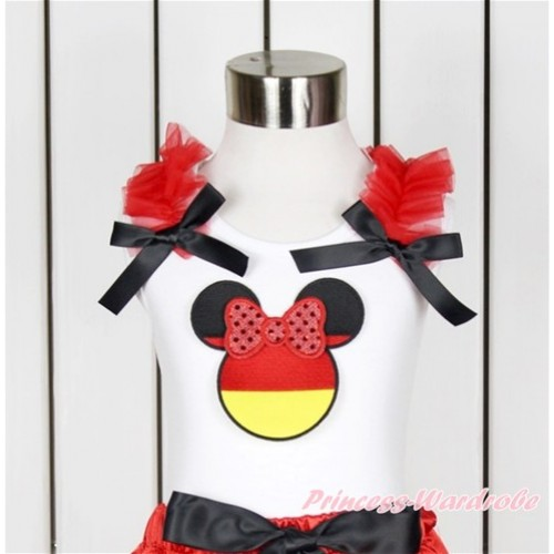 World Cup White Tank Top With Red Ruffles & Black Bow With Sparkle Red Germany Minnie Print TB637