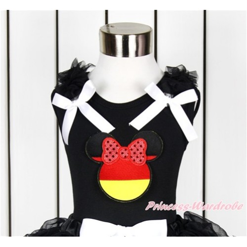 World Cup Black Tank Top With Black Ruffles & White Bow With Sparkle Red Germany Minnie Print TB652