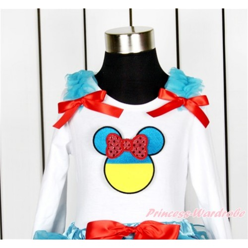World Cup White Long Sleeves Top With Peacock Blue Ruffles & Red Bow with Sparkle Red Ukraine Minnie Print TW427