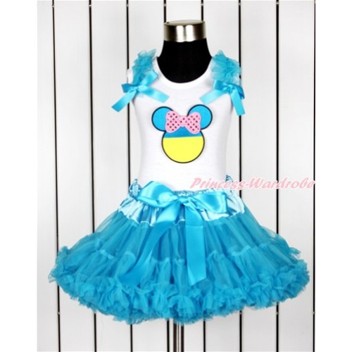 World Cup White Tank Top with Peacock Blue Ruffles & Peacock Blue Bow with Sparkle Light Pink Ukraine Minnie Print & Peacock Blue Pettiskirt MG1009