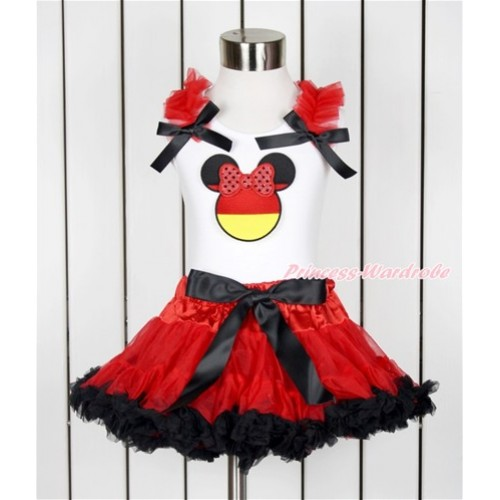 World Cup White Tank Top with Red Ruffles & Black Bow with Sparkle Red Germany Minnie Print & Red Black Pettiskirt MG1014