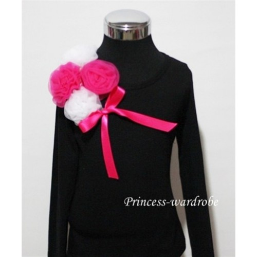 Black Long Sleeve Top with Bunch of White Hot Pink Rosettes and Hot Pink Bow TB83